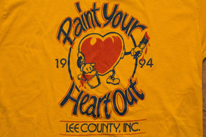 90s 1994 Paint Your Heart Out T-Shirt, Lee County FL, Vintage 1990s, Rotary International, Painting Event, Short Sleeve Graphic Tee, Jerzees