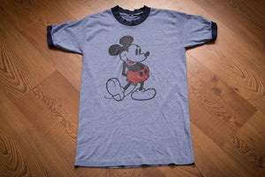 70s-80s Mickey Mouse Blue Ringer T-Shirt, Vintage 1970s-1980s, Walt Disney Cartoon