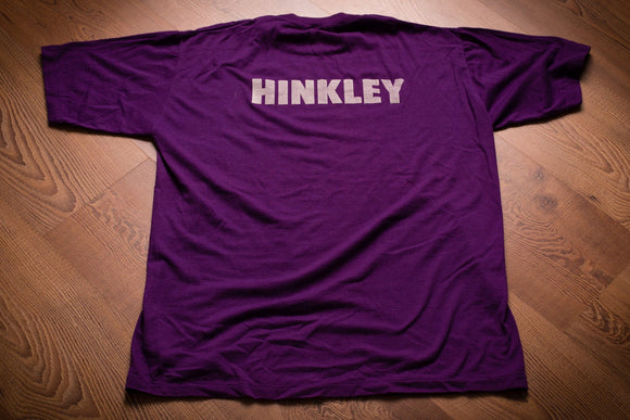 vintage 80s purple t-shirt with the name hinkley