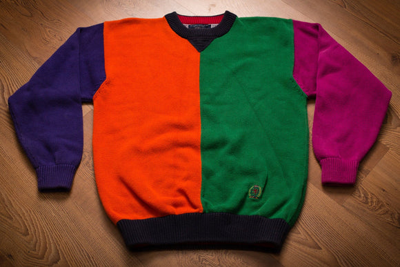 90s Tommy Hilfiger Colorblock Sweater, Vintage 1990s, Rap Hip Hop Apparel, Long Sleeve Crewneck Shirt, Color Block Orange Green Purple Magenta