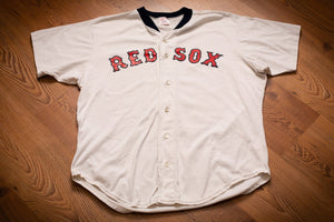 vintage 80s classic white button front jersey with red sox spellout text