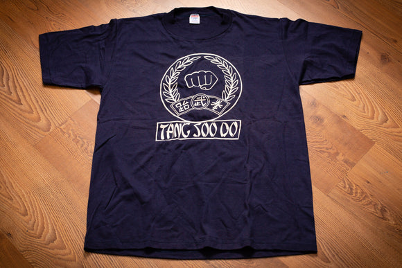 vintage 80s blue t-shirt with tang soo do, asian text characters, and a fist graphic