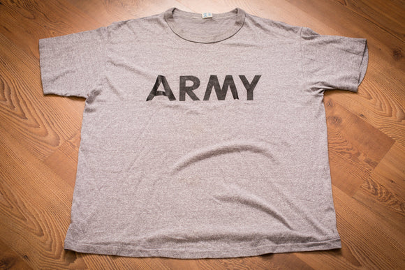 Vintage 80s heather gray Champion brand t-shirt with black ARMY text