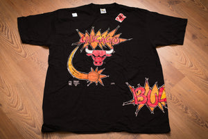 vintage 90s black t-shirt with chicago bulls text, logo, and comic sketch style graphics
