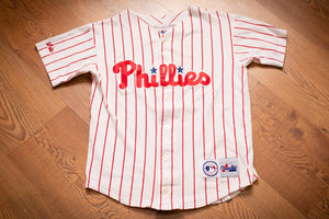 80s-90s Philadelphia Phillies Pinstripe Jersey, Adult XS or Kids/Youth, Majestic, Vintage