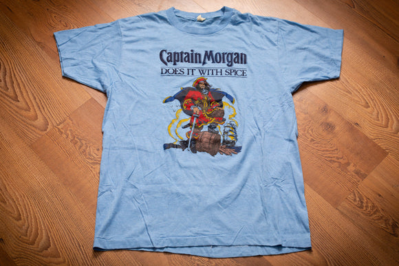 80s Captain Morgan T-Shirt, M, Vintage Tee, Does It With Spice, Spiced Rum