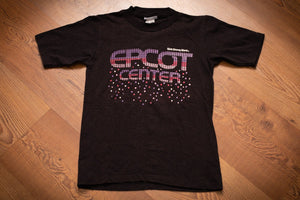 vintage 80s black t-shirt with mosaic epcot center text and falling confetti