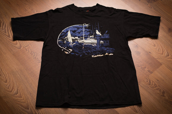 vintage 90s black t-shirt from ketchikan alaska with nautical sailing graphics
