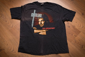 Vintage 80s black t-shirt with graphic of Barry Manilow from his 1989 On Broadway US concert tour