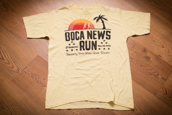 70s 1979 Boca News Run T-Shirt, 2nd Annual, Vintage, Raton FL Road Runners