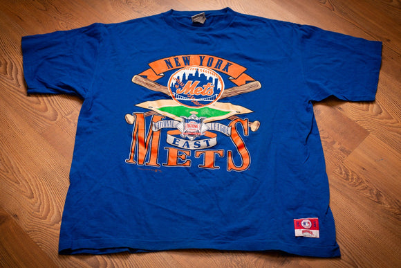 vintage 90s blue t-shirt with new york mets logo and text with baseball bat and field graphics