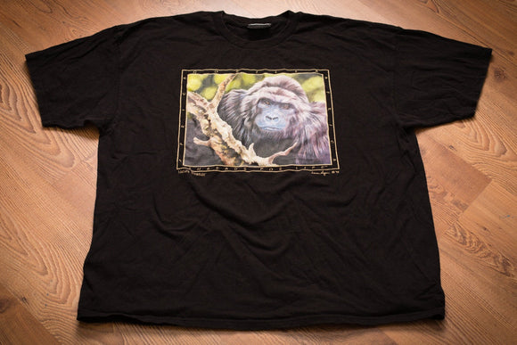 vintage 90s black t-shirt with gorilla graphic