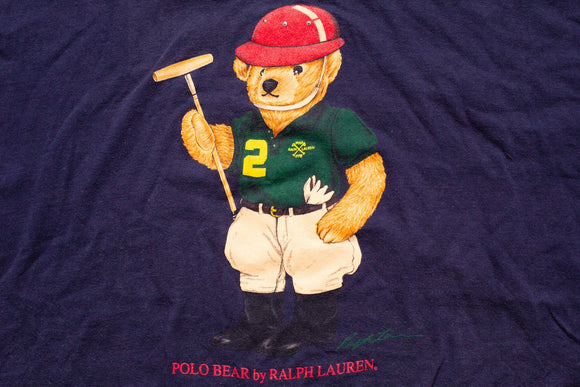 90s Ralph Lauren Polo Bear T-Shirt, XL, Polo Player, Vintage 1990s, 1993, Hip Hop Graphic Tee, Sport Club, Red Hat, Throwback Streetwear