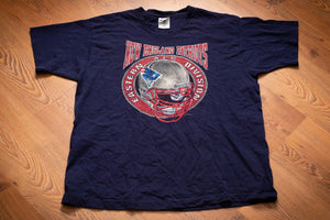 Vintage 90s blue t-shirt with New England Patriots name and logo helmet