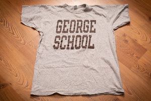 vintage 80s gray t-shirt with george school text