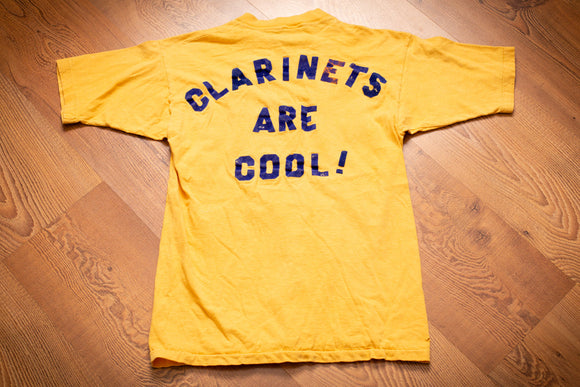 vintage 70s yellow t-shirt with clarinets are cool! text