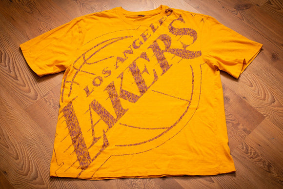 vintage 90s yellow t-shirt with full print los angeles lakers logo