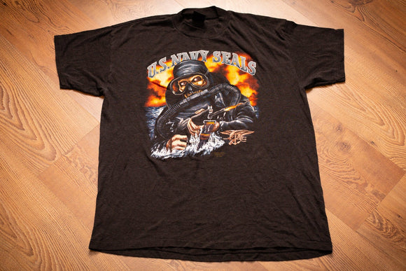 vintage 80s black t-shirt with us navy seals text and skeleton frogman with machine gun graphic
