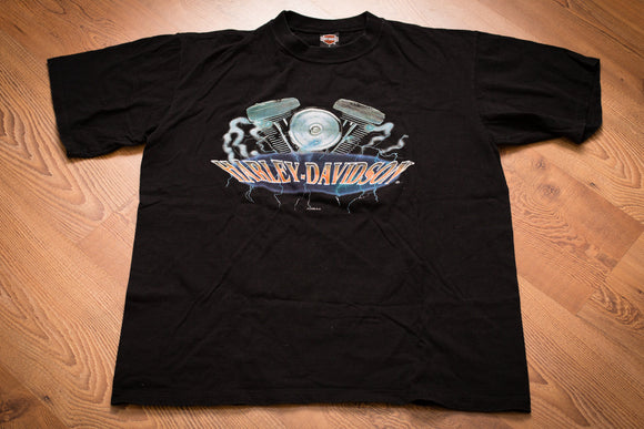 vintage 90s black t-shirt with harley davidson text and engine and lightning graphics