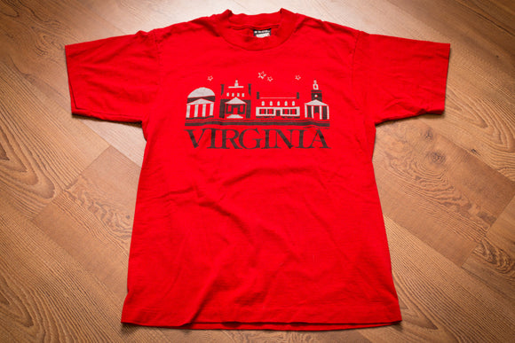 Vintage 80s red t-shirt with Virginia text and various building graphics