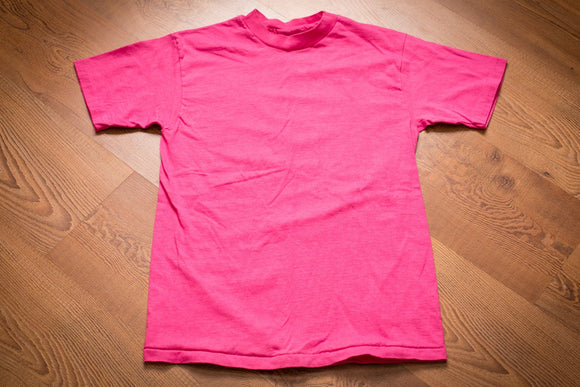 vintage 80s to 90s blank hot pink t-shirt