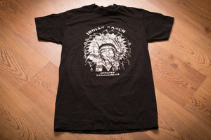 Vintage 80s black t-shirt with foil Native American Chief graphic from Indian Ranch in Webster, MA