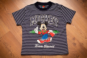 "vintage 90s striped t-shirt with mickey mouse graphic and ""team spirit"" text"