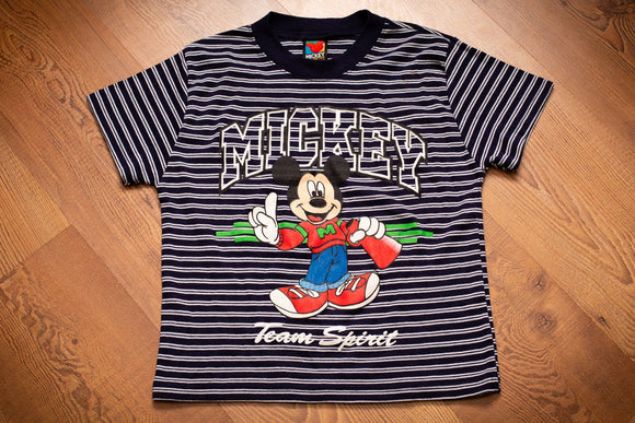 vintage 90s striped t-shirt with mickey mouse graphic and