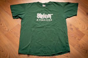 vintage 90s green t-shirt with slipknot logo text and number strand