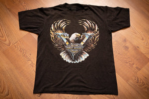 vintage 80s black t-shirt from harley-davidson with chrome V2 logo and eagle graphic
