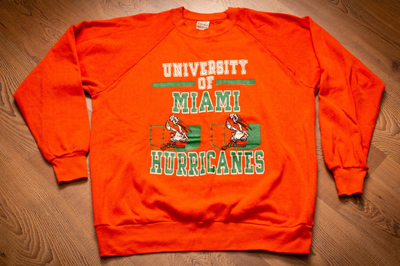 80s Miami Hurricanes Sweatshirt, L, Orange, Vintage Raglan Shirt, University Mascot