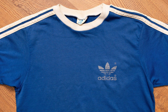 70s-80s ADIDAS Trefoil Logo Striped Blue T-shirt, Vintage 1970s-1980s, Hip Hop, Firebird, Streetwear, Short Sleeve Crewneck Tee, Made in USA