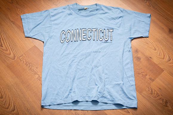 Light blue t-shirt with text reading Connecticut
