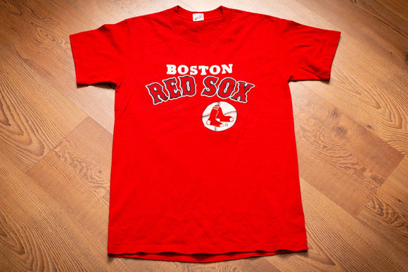 vintage 80s red t-shirt with boston red sox spellout text and logo