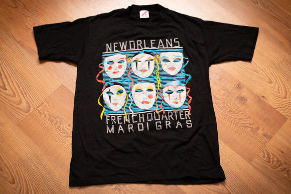 80s Mardi Gras Theater Masks T-Shirt, S, Vintage Tee, New Orleans French Quarter