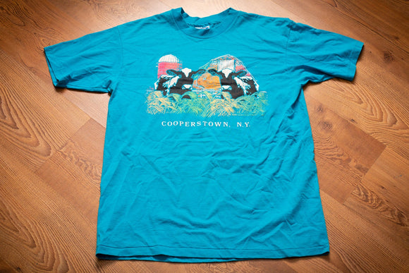 90s Cows in Cooperstown NY T-Shirt, M/L, Vintage Graphic Tee, Rural Farming