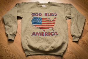 vintage 80s to 90s brown sweatshirt with american flag in shape of the united states with god bless america text