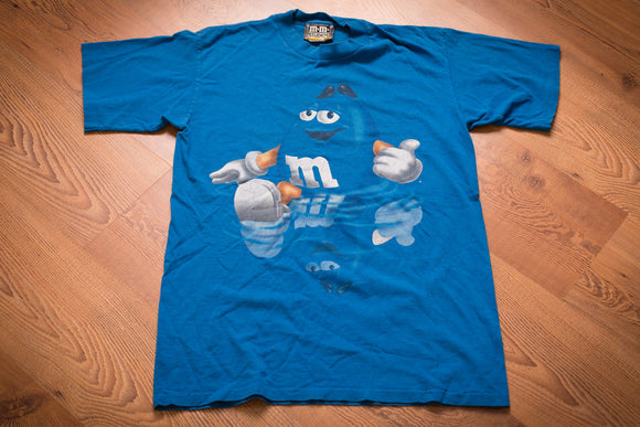 90s Blue M&M's T-Shirt, M, Vintage, Mars Chocolate Candy, Thumbs Up in Water