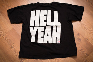 "vintage 90s black t-shirt with WWF wrestler stone cold steve austin's quote of ""hell yeah"""