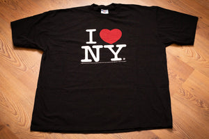 vintage 90s black t-shirt with I heart NY graphic