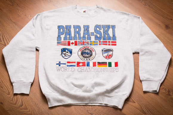 vintage 90s gray sweatshirt with graphics and text for the 1995 Para-Ski World Championships in Snowbird, Utah