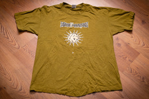 vintage 90s green t-shirt with skif dank band logo and sun graphic