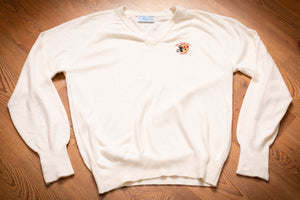 vintage 80s white sweater with embroidered san francisco 49ers logo helmet