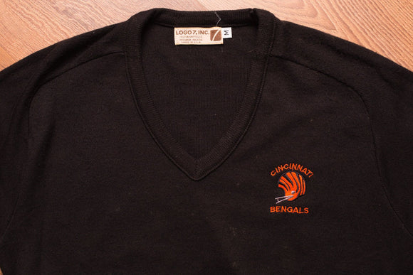 80s Cincinnati Bengals V-Neck Sweater, S/M, Vintage 1980s, Logo 7, NFL Football