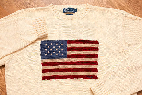 90s Polo by Ralph Lauren USA Flag Sweater, M/L, Vintage 1990s, Hip Hop Apparel, Long Sleeve Knit Crewneck Shirt, American, Beige, Cream