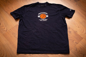 vintage 90s blue t-shirt with basketball graphic and text promoting 1992 abercrombie 3 on 3 basketball fall league