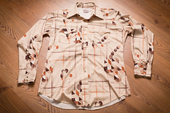 vintage 70s brown button up shirt from h bar c with geometric designs