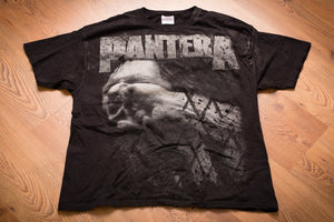 Vintage 90s black t-shirt with Pantera text and graphic of man getting punched in the face