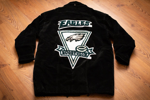 90s Philadelphia Eagles Suede Leather Jacket, M, Vintage Outerwear, Rugby Club