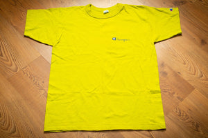 80s Champion Lime Green T-Shirt, M, Vintage 1980s, Script Spellout Logo, Stained